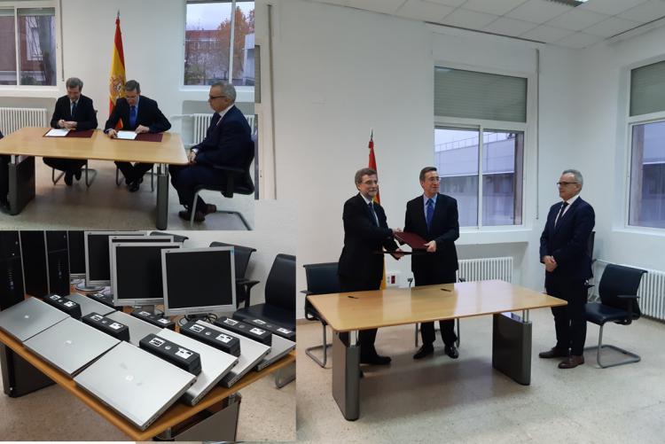 Isdefe firma un acuerdo de donación de material informático con la Academia de las Ciencias y las Artes Militares.
